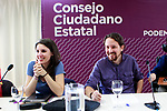 Irene Montero, Speaker in Congress (l) and Pablo Iglesias, General Secretary, during the Consejo Ciudadano Estatal - State Citizen Council of Podemos. (ALTERPHOTOS/Acero)