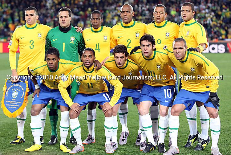 15 JUN 2010:  Brazil starting lineup: (front row)(l-r) Michel Bastos (BRA)(6), Robinho (BRA)(11), Elano (BRA)(7), Kaka (BRA)(10), Luis Fabiano (BRA)(9); (back row)(l-r) Lucio (BRA)(3), Julio Cesar (BRA)(1), Juan (BRA)(4), Maicon (BRA)(2), Gilberto Silva (BRA)(8), Felipe Melo (BRA)(5).  The Brazil National Team played the North Korea National Team to a 0-0 tie at the end of the 1st half at Ellis Park Stadium in Johannesburg, South Africa in a 2010 FIFA World Cup Group G match.