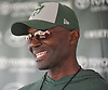 Todd Bowles, New York Jets Head Coach, laughs as he speaks with the media after team practice at the Atlantic Health Jets Training Center in Florham Park, NJ on Sunday, July 29, 2018.