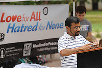 NWA Democrat-Gazette/ANDY SHUPE<br /> Hameed Naseem, a professor of electrical engineering at the University of Arkansas, reads Wednesday, Sept. 9, 2015, from the Quran during the annual Muslims for Life blood drive sponsored by Al-Islam Students Association at the University of Arkansas in Fayetteville. The event marks the 14th anniversary of the 9/11 terrorist attacks and had the goal of collecting 200 pints of blood from the campus community.