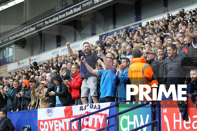 Coventry supporters during the Sky Bet League 1 match between Bolton Wanderers and Coventry City at the University of Bolton Stadium, Bolton, England on 10 August 2019. Photo by James  Gill / PRiME Media Images.