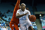 03 January 2016: North Carolina's Xylina McDaniel (right) and Clemson's Justice Wright (behind). The University of North Carolina Tar Heels hosted the Clemson University Tigers at Carmichael Arena in Chapel Hill, North Carolina in a 2015-16 NCAA Division I Women's Basketball game. UNC won the game 72-56.