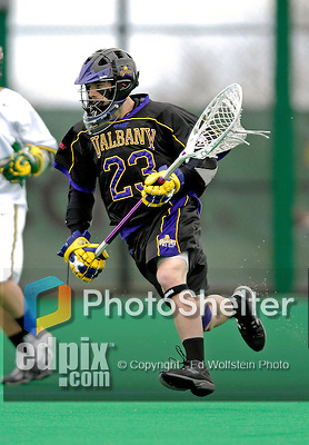 14 April 2007: University of Albany Great Danes' Brett Queener, a Senior from Penn Yan, NY, in action against the University of Vermont Catamounts at Moulton Winder Field, in Burlington, Vermont. The Great Danes defeated the Catamounts 14-7...Mandatory Photo Credit: Ed Wolfstein Photo