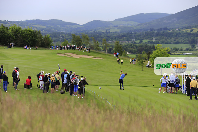 Hannah O'Sullivan on the 4th during the Friday morning foursomes at the 2016 Curtis cup from Dun Laoghaire Golf Club, Ballyman Rd, Enniskerry, Co. Wicklow, Ireland. 10/06/2016.<br /> Picture Fran Caffrey / Golffile.ie<br /> <br /> All photo usage must carry mandatory copyright credit (&copy; Golffile | Fran Caffrey)
