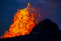 lava eruption, fountaining several hundred feet into the air, from a fissure at the end of Pohoiki Road, Leilani Estates, Kilauea, Big Island, Hawaii, USA