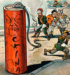 """A Dangerous Firecracker - Illustration shows the rulers of Germany, France, Austria, Japan, and John Bull, representing England, watching as the ruler of Russia lights the fuse of a large firecracker labeled China.""""  Political Cartoon 1900"""