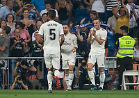 Gareth Bale of Real Madrid celebrating after scoring a goal during the match between Real Madrid v Cd Leganes of LaLiga, 2018-2019 season, date 3. Santiago Bernabeu Stadium. Madrid, Spain - 1 September 2018. Mandatory credit: Ana Marcos / PRESSINPHOTO