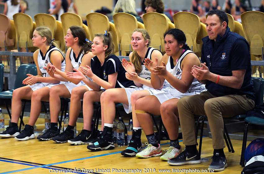 Action from the 2019 Schick AA Girls' Secondary Schools Basketball Premiership National Championship match between Otago Girls' High School and Wellington East Girls' College at the Central Energy Trust Arena in Palmerston North, New Zealand on Monday, 30 September 2019. Photo: Dave Lintott / lintottphoto.co.nz