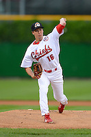 Peoria Chiefs pitcher Kyle Helisek #16 during a game against the Wisconsin Timber Rattlers on May 25, 2013 at Dozer Park in Peoria, Illinois.  Peoria defeated Wisconsin 6-0.  (Mike Janes/Four Seam Images)