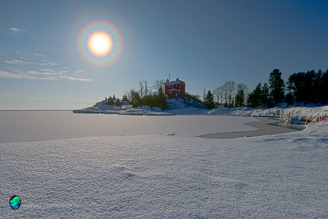 9° sun halo, Marquette Lighthouse, atmospheric optics, sun rainbow