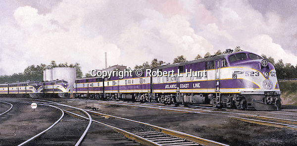 "Atlantic Coast Line E unit ABA diesel locomotives in purple and white at a refueling and maintenance area. Oil on canvas, 14"" x 28""."