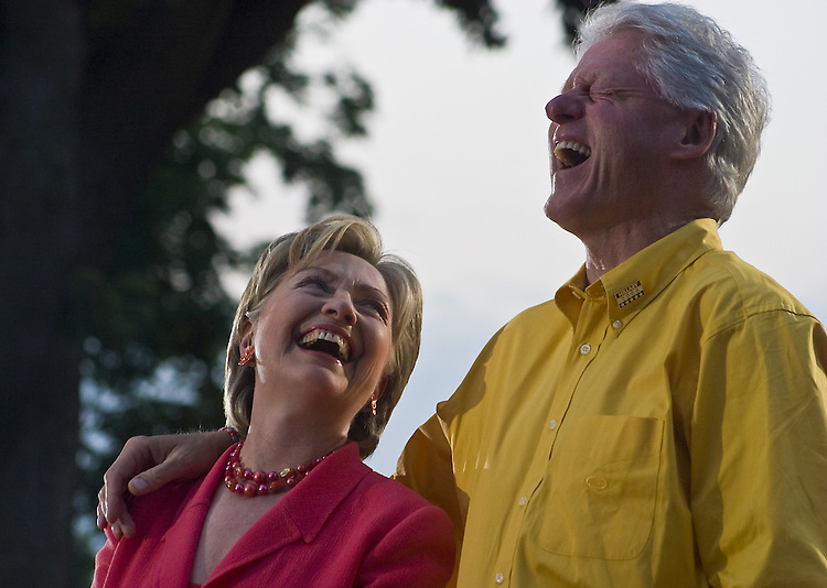 Democratic presidential candidate and Sen. Hillary Rodham Clinton, D-N.Y., campaigns with her husband, former U.S. president Bill Clinton in Iowa, July 2007