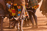 Hamer girls dance  for bull jumping ceremony in Turmi Ethiopia