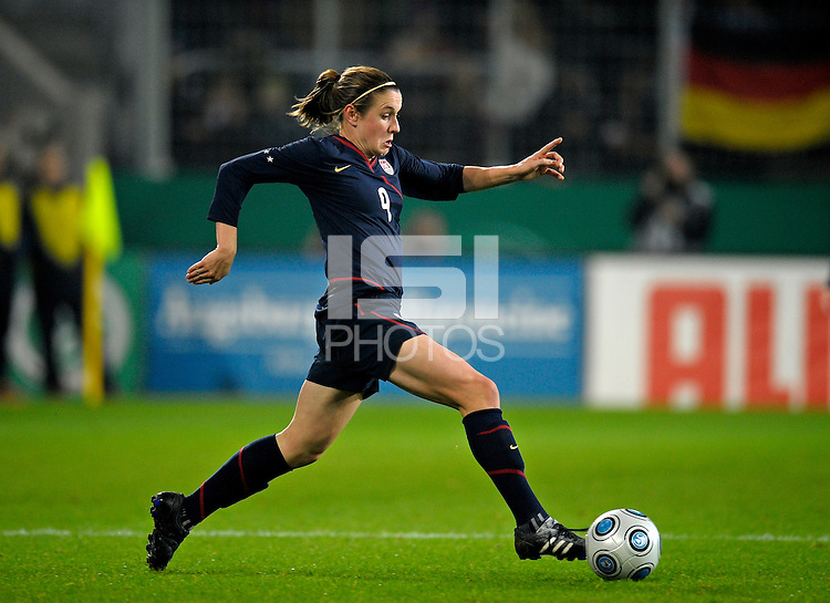 Heather O'Reilly dribbles the ball. US Women's National Team defeated Germany 1-0 at Impuls Arena in Augsburg, Germany on October 29, 2009.