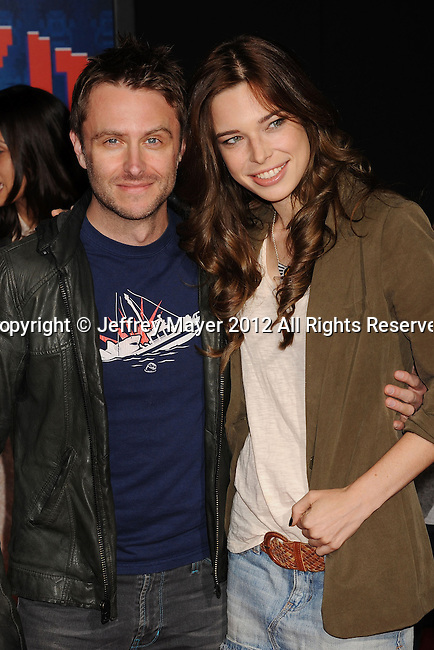 HOLLYWOOD, CA - OCTOBER 29: Chris Hardwick and Chloe Dykstra arrive at the Los Angeles premiere of 'Wreck-It Ralph' at the El Capitan Theatre on October 29, 2012 in Hollywood, California.
