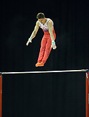 21st March 2018, Arena Birmingham, Birmingham, England; Gymnastics World Cup, day one, mens competition; Nikita Nagornyy (RUS) on the Horizontal Bar during his competition routine