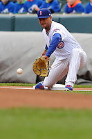 Jonathan Mota #6 of the Iowa Cubs gloves a throw  at first base against the Omaha Storm Chasers at Principal Park on May 1, 2014 in Des Moines, Iowa. The Cubs  beat Storm Chasers 1-0.   (Dennis Hubbard/Four Seam Images)