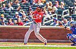 21 April 2013: Washington Nationals outfielder Denard Span in action against the New York Mets at Citi Field in Flushing, NY. The Mets shut out the visiting Nationals 2-0, taking the rubber match of their 3-game weekend series. Mandatory Credit: Ed Wolfstein Photo *** RAW (NEF) Image File Available ***