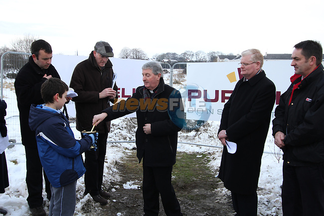 Bishop of Meath, Michael Smith blessing the site at the Turning of the First Sod on the Site of the new school on the Bryanstown Crossroute...(Photo credit should read Jenny Matthews www.newsfile.ie)....This Picture has been sent you under the conditions enclosed by:.Newsfile Ltd..The Studio,.Millmount Abbey,.Drogheda,.Co Meath..Ireland..Tel: +353(0)41-9871240.Fax: +353(0)41-9871260.GSM: +353(0)86-2500958.email: pictures@newsfile.ie.www.newsfile.ie.