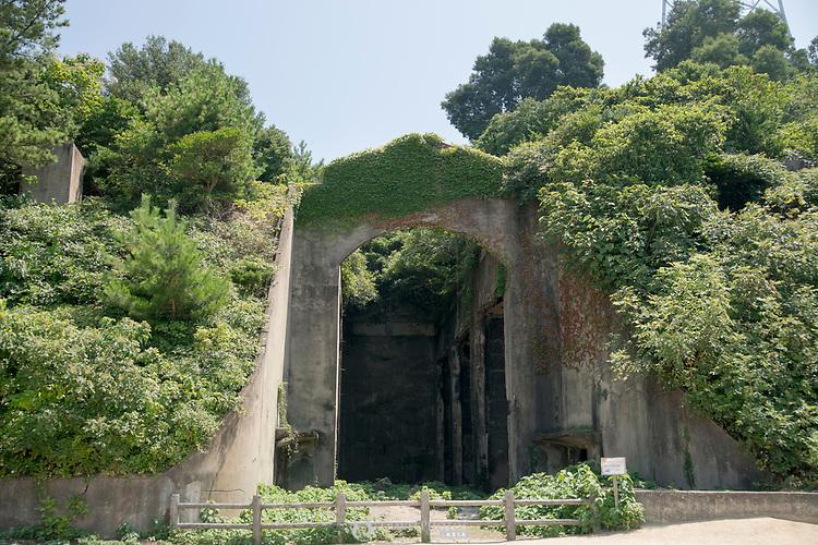 Military ruins on Okunoshima, aka Rabbit Island, in Hiroshima Prefecture Japan.