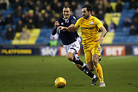 Greg Cunningham of Preston North End tries to shake off a challenge from Millwall's Jed Wallace during Millwall vs Preston North End, Sky Bet EFL Championship Football at The Den on 13th January 2018