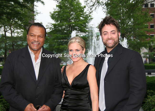 Billy Dee Williams (Night Shift) poses with Terri and Artie Colombino at the Gala Awards Ceremony of the 2008 Hoboken International Film Festival which concluded  with Billy Dee Williams being presented the Lifetime Achievement Award and then nominees and winners were announced on June 5, 2008 at Pier A Park, Hoboken, New Jersey.  (Photo by Sue Coflin/Max Photos)