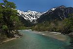 View of Kamikochi from Kappa bridge. Kamikochi National Park. Japanese Alps. Nagano. Japan.