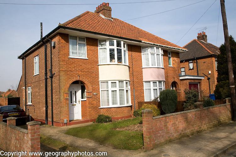 1930s semi detached suburban houses, Ipswich, Suffolk