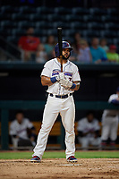 Jacksonville Jumbo Shrimp Justin Twine (2) at bat during a Southern League game against the Mobile BayBears on May 28, 2019 at Baseball Grounds of Jacksonville in Jacksonville, Florida.  Mobile defeated Jacksonville 2-1.  (Mike Janes/Four Seam Images)