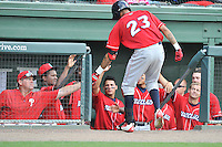Right fielder Jose Pujols (23) of the Lakewood BlueClaws is congratulated by teammates after hitting a home run in a game against the Greenville Drive on Sunday, June 26, 2016, at Fluor Field at the West End in Greenville, South Carolina. Greenville won, 2-1. (Tom Priddy/Four Seam Images)