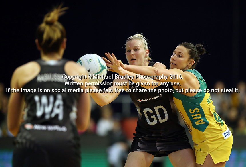 12.10.2016 Silver Ferns Katrina Grant and Australia's Madi Robinson in action during the Silver Ferns v Australia netball test match played at the Silver Dome in Launceston in Australia.. Mandatory Photo Credit ©Michael Bradley.