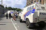 Heavy security at sign on in Verviers before the start of Stage 3 of the 104th edition of the Tour de France 2017, running 212.5km from Verviers, Belgium to Longwy, France. 3rd July 2017.<br /> Picture: Eoin Clarke | Cyclefile<br /> <br /> <br /> All photos usage must carry mandatory copyright credit (&copy; Cyclefile | Eoin Clarke)
