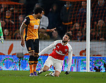 Tom Huddlestone of Hull City has words with Olivier Giroud of Arsenal - English FA Cup - Hull City vs Arsenal - The KC Stadium - Hull - England - 8th March 2016 - Picture Simon Bellis/Sportimage