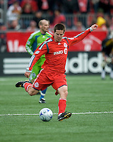 Sam Cronin of Toronto FC prepares to launch a ball during MLS action at BMO Field on April 4, 2009. Seattle won 2-0.