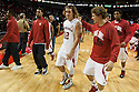 November 8, 2013: Mike Peltz (12) and Trevor Menke (10) of the Nebraska Cornhuskers walk off the court together after the Huskers defeated the Florida Gulf Coast Eagles 79 to 55 at the Pinnacle Bank Areana, Lincoln, NE.