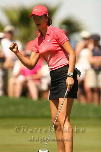 Apr. 2, 2006; Rancho Mirage, CA, USA; Michelle Wie reacts after missing a putt during the final round of the Kraft Nabisco Championship at Mission Hills Country Club. ..Mandatory Photo Credit: Darrell Miho.Copyright © 2006 Darrell Miho .