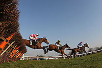 The field in jumping action during the Follow Plumpton Racecourse On Facebook Mares Handicap Hurdle