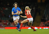 Italy&rsquo;s Manuela Furlan  in action during todays match<br /> <br /> Photographer Ian Cook/CameraSport<br /> <br /> 2018 Women's Six Nations Championships Round 4 - Wales Women v Italy Women - Sunday 11th March 2018 - Principality Stadium - Cardiff<br /> <br /> World Copyright &copy; 2018 CameraSport. All rights reserved. 43 Linden Ave. Countesthorpe. Leicester. England. LE8 5PG - Tel: +44 (0) 116 277 4147 - admin@camerasport.com - www.camerasport.com