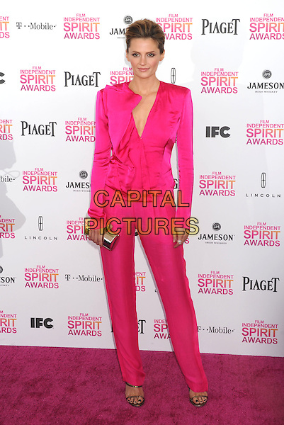 Stana Katic.2013 Film Independent Spirit Awards - Arrivals Held At Santa Monica Beach, Santa Monica, California, USA,.23rd February 2013..indy indie indies indys full length pink top ruffle shirt trousers clutch bag silver v-neck.CAP/ROT/TM.©Tony Michaels/Roth Stock/Capital Pictures