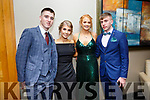 Enjoying the Castleisland Debs at Ballyroe Hotel on Friday were Sean Horan, Heather Dunns, Ellie Daly and Adam Fallon