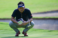 Yuta Ikeda (JPN) looks over his putt on 1 during round 1 of the World Golf Championships, Mexico, Club De Golf Chapultepec, Mexico City, Mexico. 3/2/2017.<br /> Picture: Golffile | Ken Murray<br /> <br /> <br /> All photo usage must carry mandatory copyright credit (&copy; Golffile | Ken Murray)