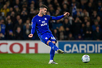 Gary Madine of Cardiff City sees his side's first injury time penalty saved during the Sky Bet Championship match between Cardiff City and Wolverhampton Wanderers at the Cardiff City Stadium, Cardiff, Wales on 6 April 2018. Photo by Mark  Hawkins / PRiME Media Images.