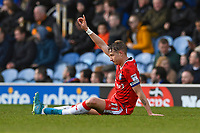 Injury concern for Lee Martin of Gillingham as he signals to the bench during Portsmouth vs Gillingham, Sky Bet EFL League 1 Football at Fratton Park on 10th March 2018