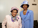 WATERBURY, CT-060317JS06-  Lifetime member Margaret Moore, left, with local chapter chairperson Dora Bennett at the annual Greater Waterbury Chapter of the National Congress of Black Women, Inc.'s Hat and Tea Scholarship Luncheon Saturday at the Mt. Olive A.M.E. Zion Church in Waterbury.  <br /> Jim Shannon Republican-American