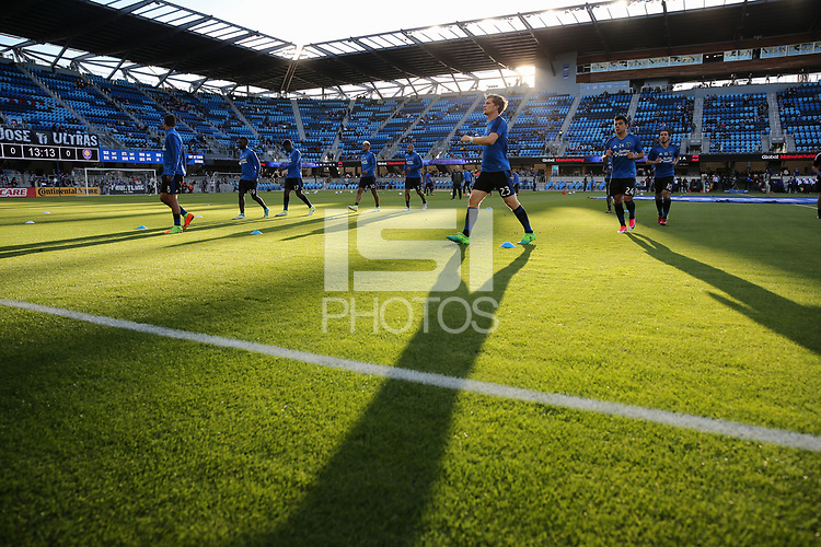 San Jose, CA - Wednesday May 17, 2017: Florian Jungwirth, San Jose Earthquakes warmup prior to a Major League Soccer (MLS) match between the San Jose Earthquakes and Orlando City SC at Avaya Stadium.