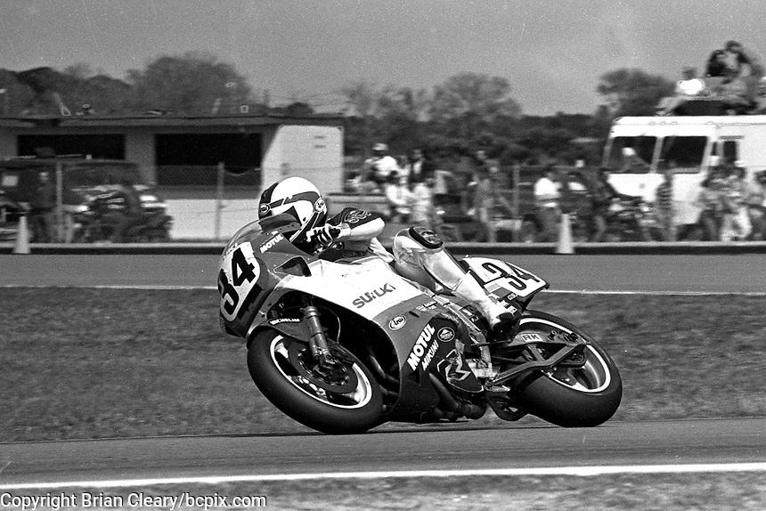 Kevin Schwantz (#34 Suzuki), Daytona 200, Daytona International Speedway, March 8, 1987.  (Photo by Brian Cleary/bcpix.com)