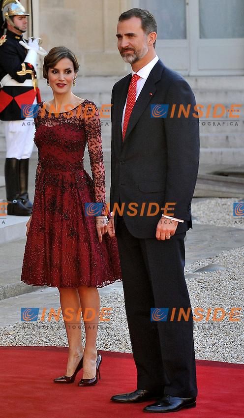 Re Filippo VI di Spagna e la Regina Letizia <br /> Parigi, Eliseo 02-06-2015 Vertice Franco Spagnolo<br /> Foto Panoramic / Insidefoto