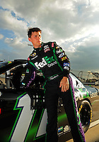 May 1, 2009; Richmond, VA, USA; NASCAR Sprint Cup Series driver Denny Hamlin during qualifying for the Russ Friedman 400 at the Richmond International Raceway. Mandatory Credit: Mark J. Rebilas-