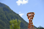 Trofeo Senza Fine on display at sign on before the start of Stage 18 of the 100th edition of the Giro d'Italia 2017, running 137km from Moena to Ortisei/St. Ulrich, Italy. 25th May 2017.<br /> Picture: LaPresse/Fabio Ferrari | Cyclefile<br /> <br /> <br /> All photos usage must carry mandatory copyright credit (&copy; Cyclefile | LaPresse/Fabio Ferrari)