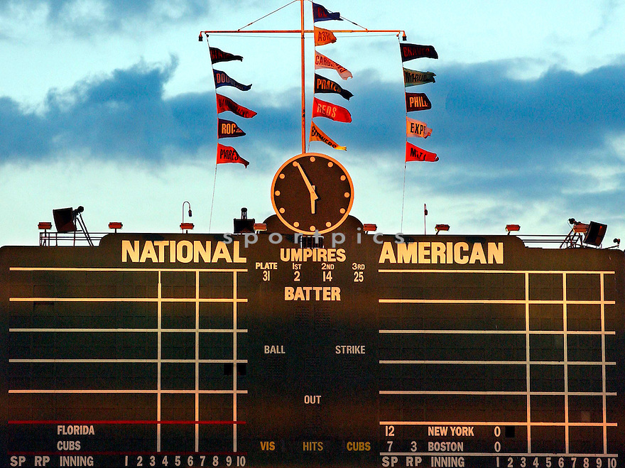 A view of the scoreboard at Wrigley Field in Chicago, IL, before game 1 of the 2003 playoffs vs the Florida Marlins on October 7, 2003. (AP Photo/Chris Bernacchi)